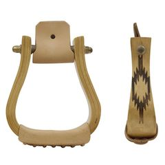 Wooden stirrups with motif