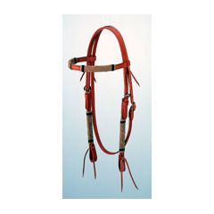 Light oil  browband headstall with rawhide