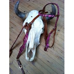 SH headstall & Breast collar set Pink zebra.